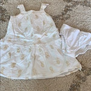 Gymboree dress with gold glitter pineapples